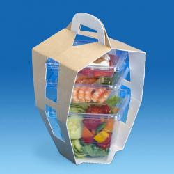 BENTO 3 BARQUETTES SUPPORT CARTON 140X140X250MM