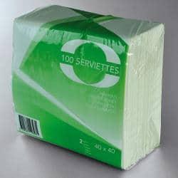 SERVIETTE OUATE 2 PLIS 40X40 BLANC /100
